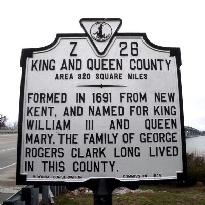 King and Queen County Marker (reverse) image. Click for full size.