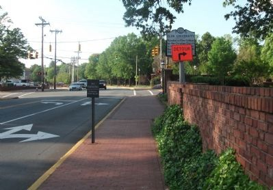 Back Side of the Elon University Marker Covered by Detour Sign image. Click for full size.