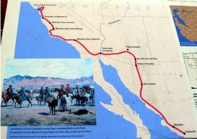 The Juan Bautista de Anza Trail Detail Map Displayed on Marker image. Click for full size.