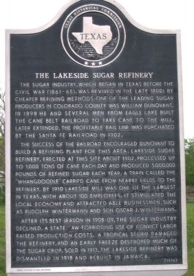 Lakeside Sugar Refinery Marker image. Click for full size.