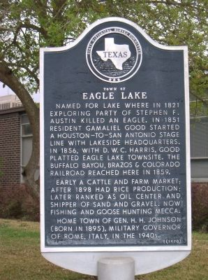 Town of Eagle Lake Marker image. Click for full size.