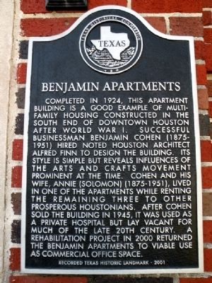 Benjamin Apartments Building Marker image. Click for full size.