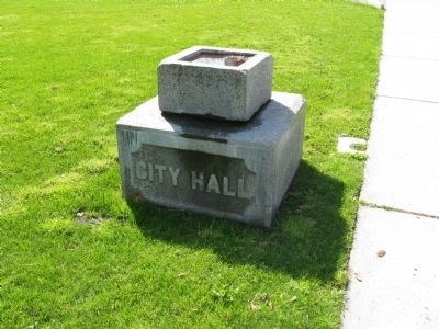 City Hall Cornerstone Located South of the Marker image. Click for full size.