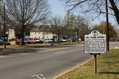 Early Columbia Racetrack Marker, looking west along Devine Street image. Click for full size.