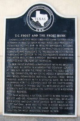 T.C. Frost and the Frost Bank Marker image. Click for full size.