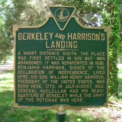 Berkeley and Harrison's Landing Marker image. Click for full size.