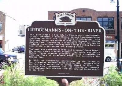 Lueddemann's-On-The-River Marker image. Click for full size.