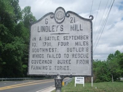 Lindley's Mill Marker image. Click for full size.