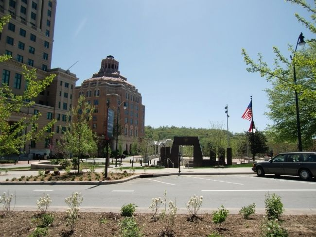 Western North Carolina Veterans Memorial - view from parking area off College St. image. Click for full size.