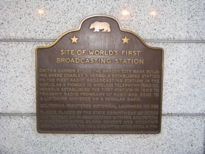 Site of Worlds First Broadcasting Station Marker (First Marker) image. Click for full size.