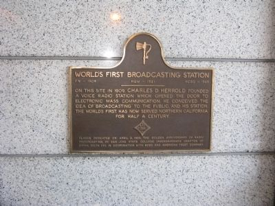 World's First Broadcasting Station Marker (Second Marker) image. Click for full size.