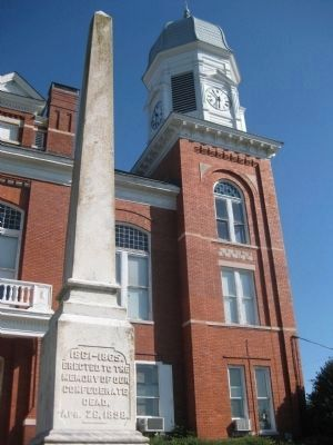 Crawfordville Confederate Memorial, with Taliaferro Courthouse Clock Tower image. Click for full size.