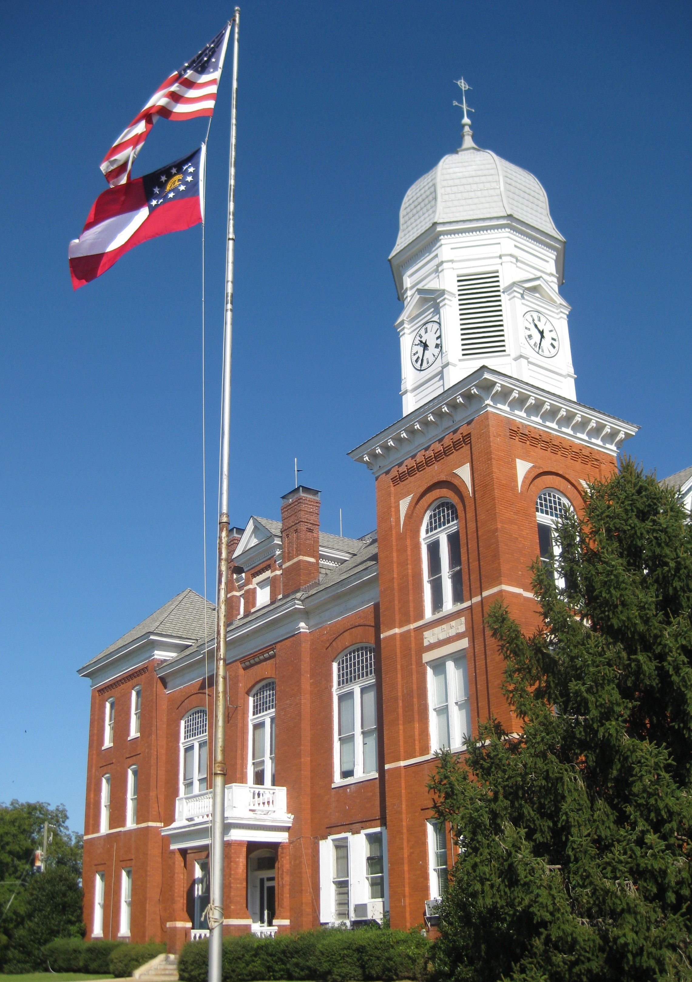 Taliaferro County Courthouse, Clock Tower, and Flagpole