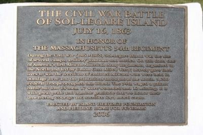 Battle of Sol-Legare Island Marker image. Click for full size.