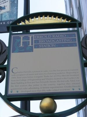 Herrold Radio Broadcasting Station Marker image. Click for full size.