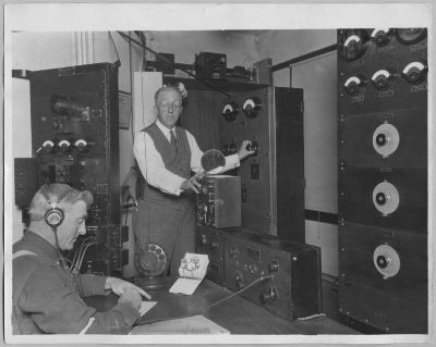 Prof. Charles Herrold Operating Radio Equipment image. Click for full size.