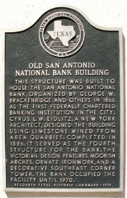 Old San Antonio National Bank Building Marker image. Click for full size.