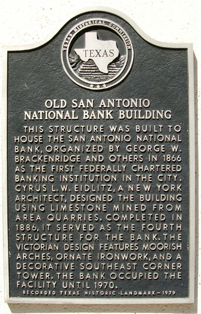 Old San Antonio National Bank Building Marker