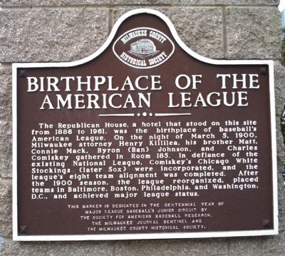 Birthplace of the American League Marker image. Click for full size.