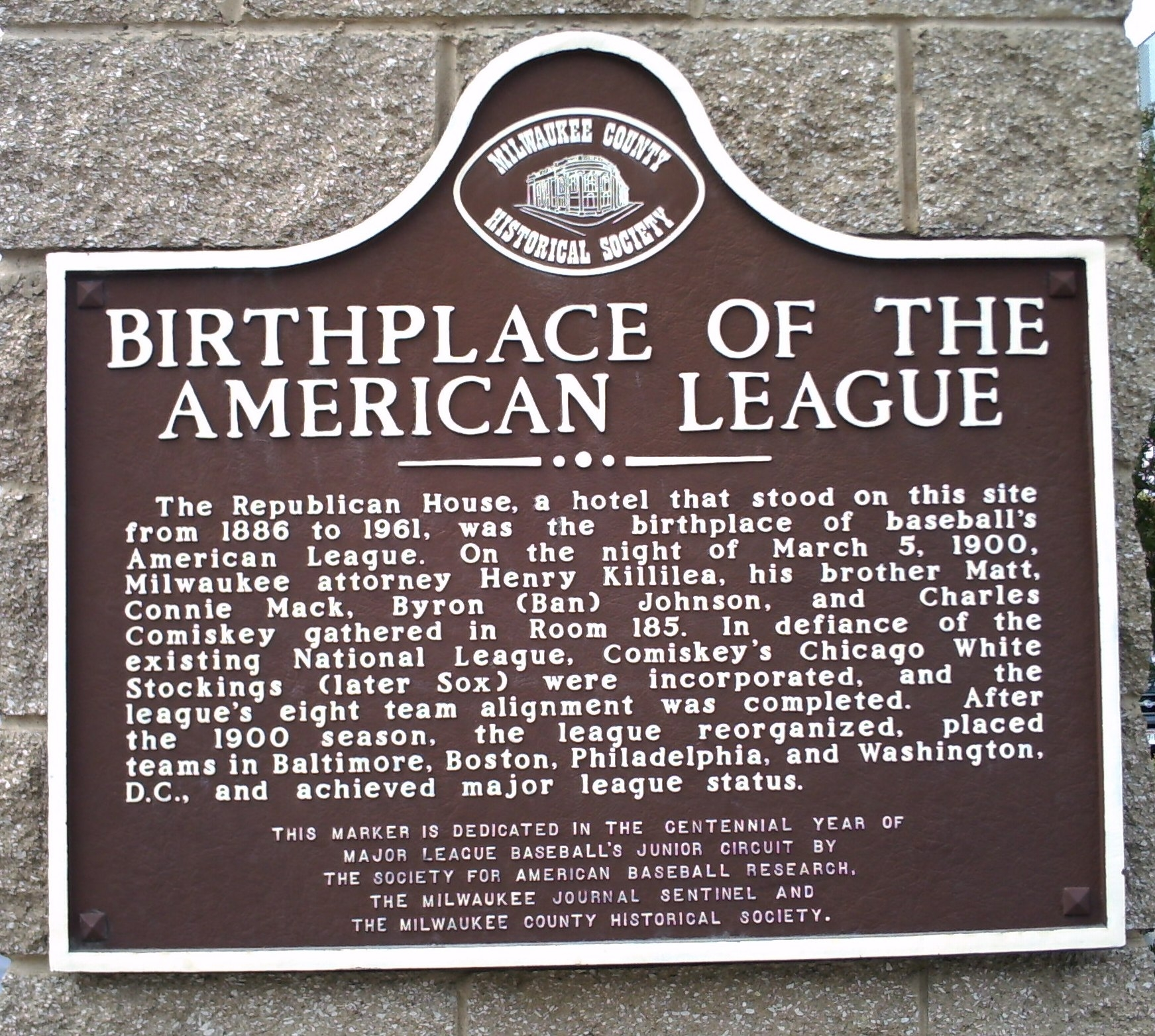 Birthplace of the American League Marker