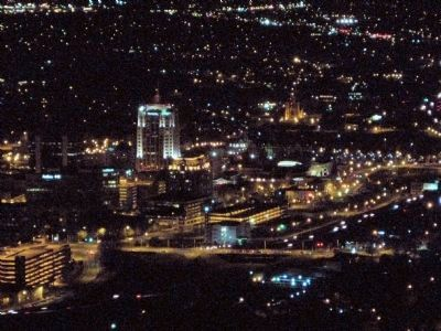 View of downtown Roanoke at night, from Mill Mountain image. Click for full size.