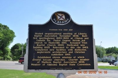 The First Baptist Church Huntsville Alabama Marker Reverse image. Click for full size.