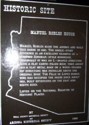 Manuel Robles House Marker image. Click for full size.