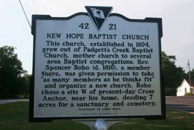 New Hope Baptist Church Marker image. Click for full size.