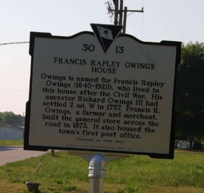 Francis Rapley Owings House Marker image. Click for full size.