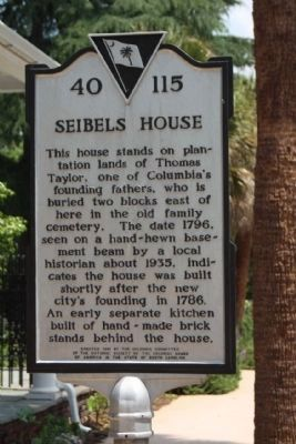Seibels House Marker, reverse side image. Click for full size.