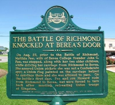 The Battle of Richmond Knocked at Berea's Door Marker image. Click for full size.