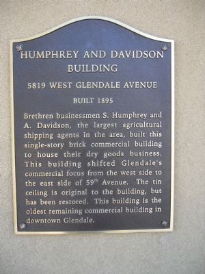 Humphrey and Davidson Building Marker image. Click for full size.