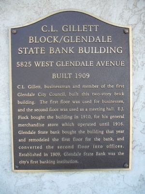 C. L. Gillett Block/Glendale State Bank Building Marker image. Click for full size.