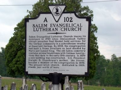 Salem Evangelical Lutheran Church Marker image. Click for full size.
