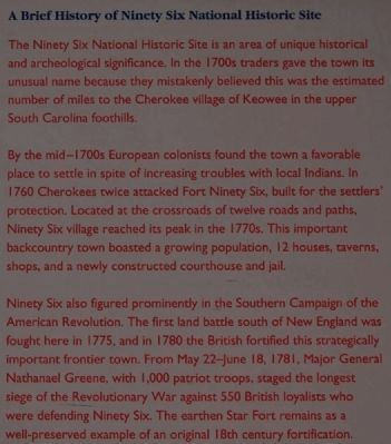 Ninety Six National Historic Site Marker -<br>A Brief History of Ninety Six image. Click for full size.