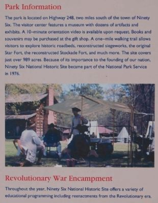 Ninety Six National Historic Site Marker -<br>Park Information / Revolutionary War Encampment image. Click for full size.