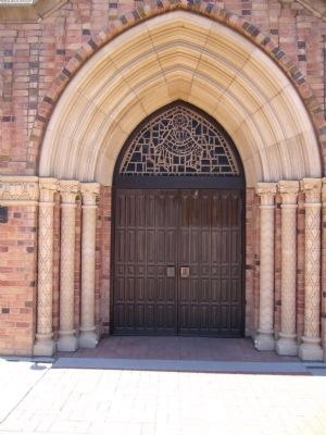 Entrance and Architectural Detail of the Methodist Episcopal Church of Glendale image. Click for full size.