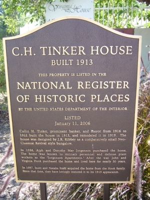 C. H. Tinker House Marker image. Click for full size.