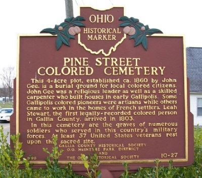 Pine Street Colored Cemetery Marker (Side A) image. Click for full size.