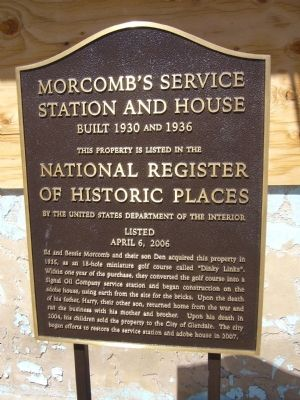 Morcomb's Service Station and House Marker image. Click for full size.