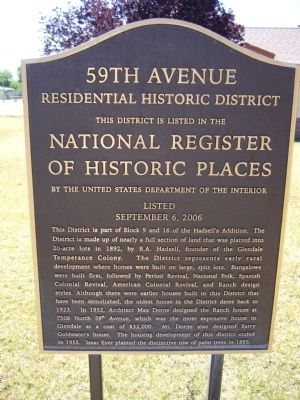 59th Avenue Residential Historic District Marker image. Click for full size.