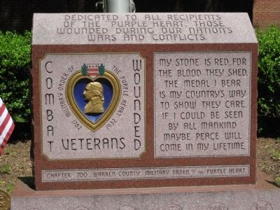 Warren County Purple Heart Monument image. Click for full size.