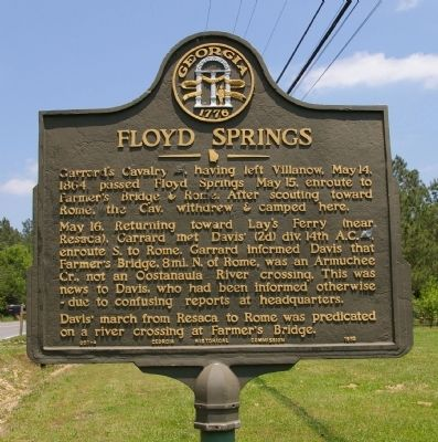 Floyd Springs Marker image. Click for full size.