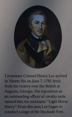 Ninety Six National Historic Site Marker -<br>Lieut. Col. Henry Lee image. Click for full size.