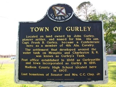 Town of Gurley Marker image. Click for full size.