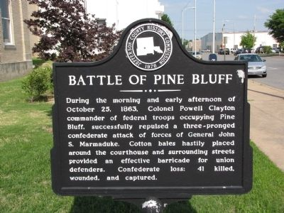 Battle of Pine Bluff Marker image. Click for full size.