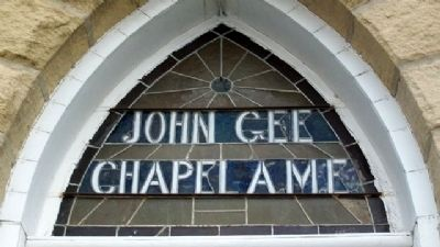 John Gee A.M.E. Church Front Door Transom image. Click for full size.