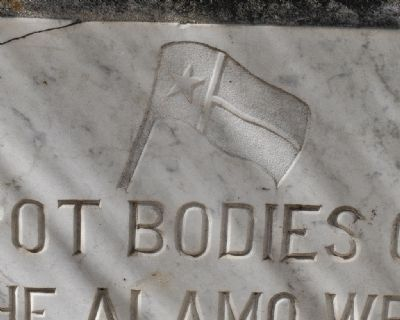 Alamo Funeral Pyre Marker (detail of Texas Flag) image. Click for full size.