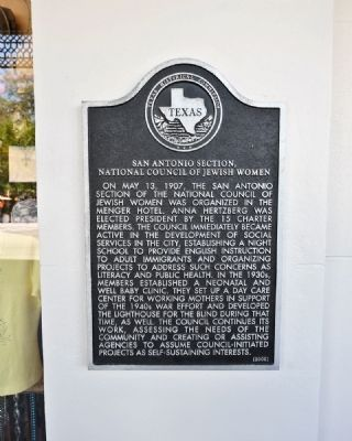 San Antonio Section - National Council of Jewish Women Marker image. Click for full size.