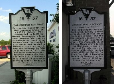 Darlington Raceway Marker image. Click for full size.